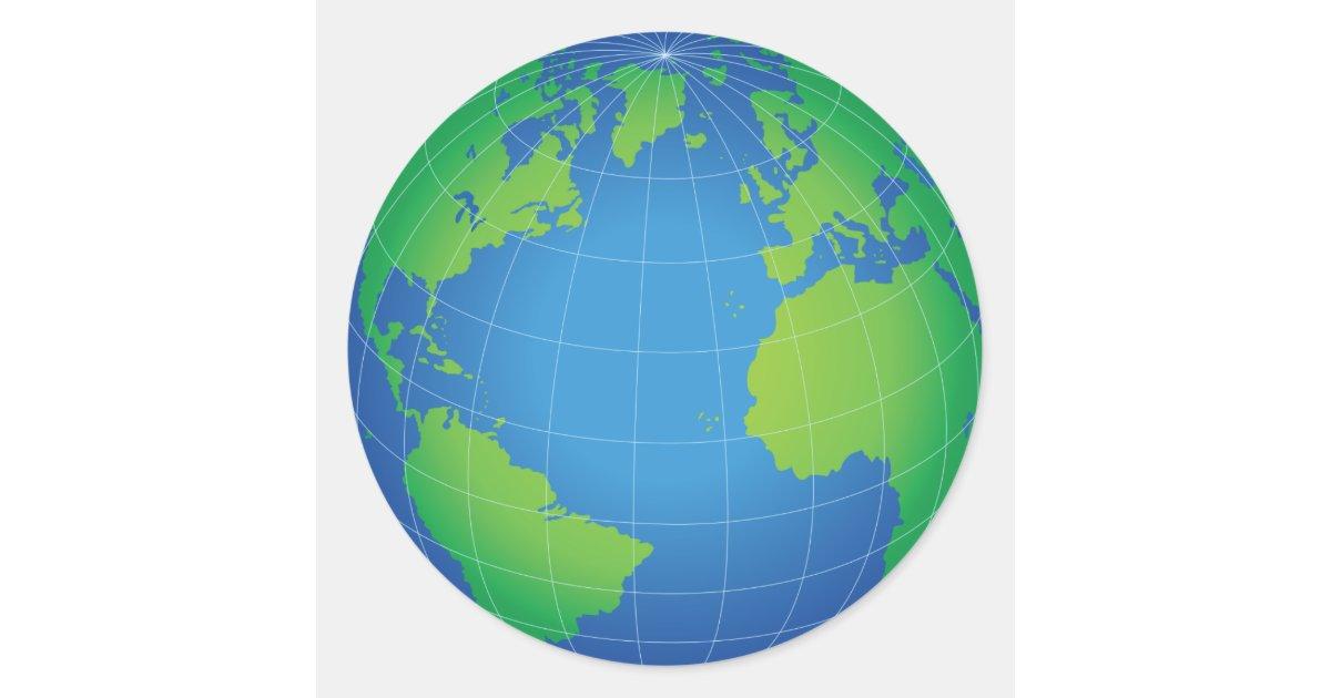 Round Globe Map.World Globe Map Classic Round Sticker Zazzle Com