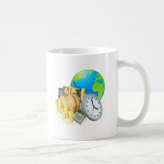 World globe money time business concept classic white coffee mug