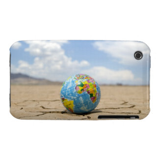 World globe on dry, cracked,  lake bed in iPhone 3 case