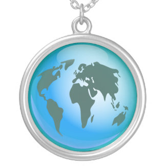 World Globe Silver Plated Necklace