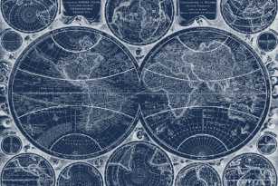 Blueprint placemats zazzle world globes blueprint paper placemat malvernweather Images