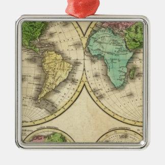 World Globular Projection Metal Ornament