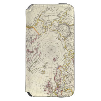 World, gnomonic proj V North Pole 45 N Lat iPhone 6/6s Wallet Case