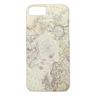 World, gnomonic proj V North Pole 45 N Lat iPhone 8/7 Case