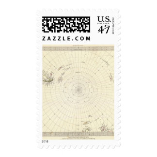 World, gnomonic proj VI South Pole to 45 S Lat Postage