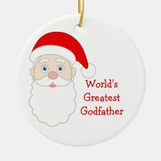 World Greatest Godfather Double-Sided Ceramic Round Christmas Ornament