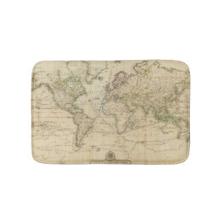 World Hand Colored map Bathroom Mat