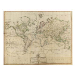 World Hand Colored map Panel Wall Art