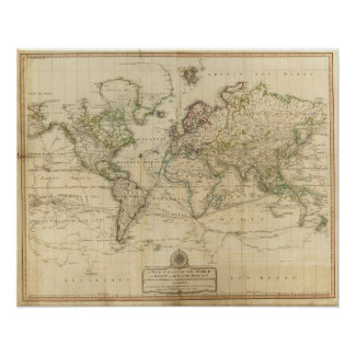 World Hand Colored map Poster