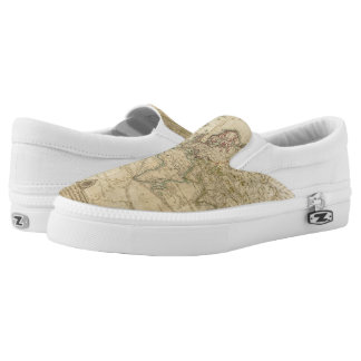 World Hand Colored map Slip-On Sneakers