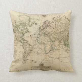 World Hand Colored map Throw Pillow