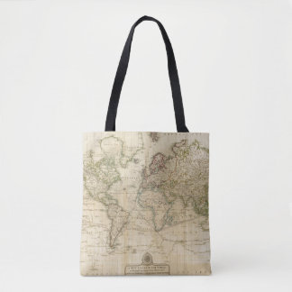 World Hand Colored map Tote Bag