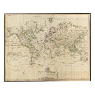World Hand Colored map Wood Wall Art