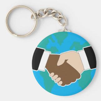 World Hand Shake Key Chains