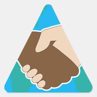 World Hand Shake Triangle Sticker