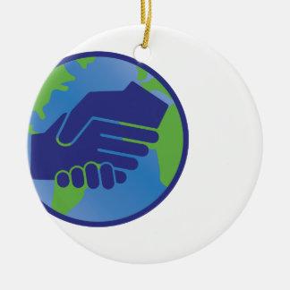 World Handshake Ceramic Ornament