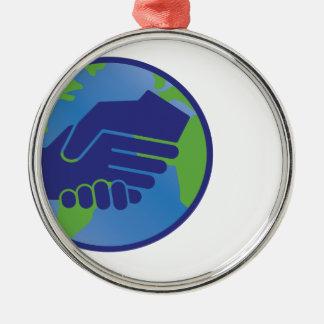World Handshake Metal Ornament