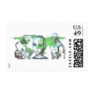 World Head Robot Cybernetics Sci-Fi Stamp