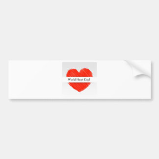 World Heart Day with a scribbled red heart Bumper Sticker