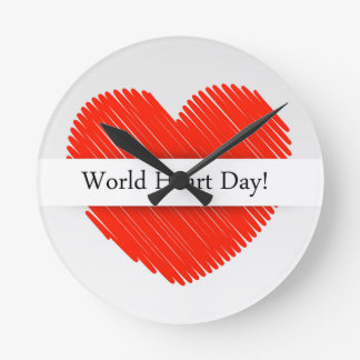 World Heart Day with a scribbled red heart Round Clock