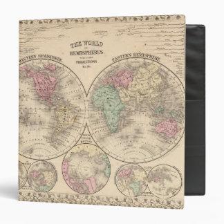 World hemispheres  Map by Mitchell 3 Ring Binder