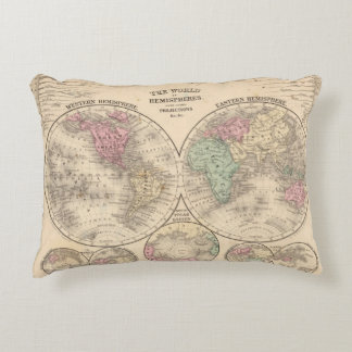 World hemispheres  Map by Mitchell Accent Pillow