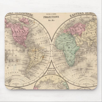 World hemispheres  Map by Mitchell Mouse Pad