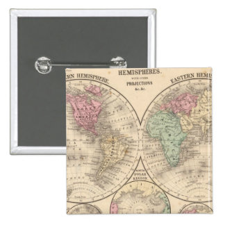 World hemispheres  Map by Mitchell Pinback Button