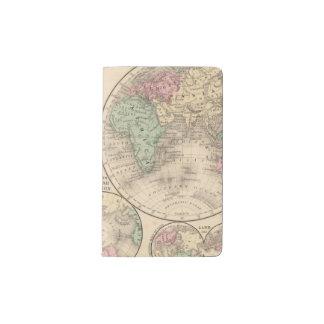 World hemispheres  Map by Mitchell Pocket Moleskine Notebook