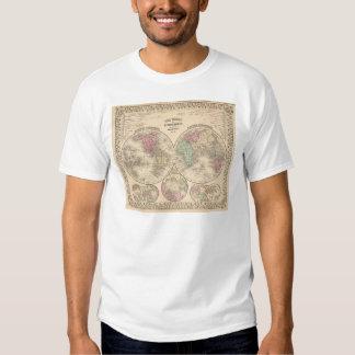 World hemispheres  Map by Mitchell Tee Shirt