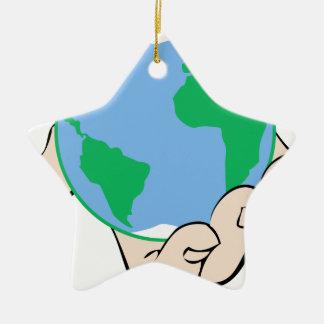 World in Hand Ceramic Ornament