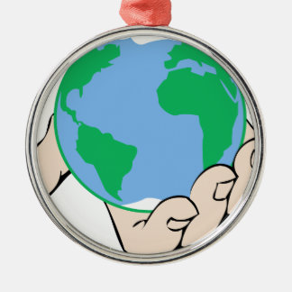 World in Hand Metal Ornament