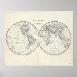 World in hemispheres poster