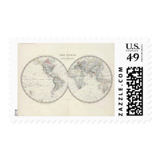 World in hemispheres stamp