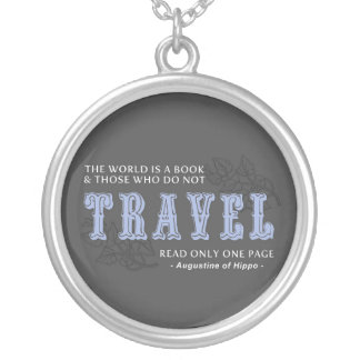 World is A Book -Travel Blue- Augustine of Hippo Necklaces