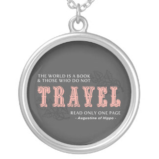 World is A Book -Travel Pink- Augustine of Hippo Custom Necklace