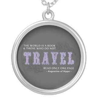 World is A Book -Travel Purple- Augustine of Hippo Round Pendant Necklace