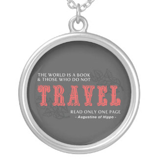 World is A Book -Travel Red- Augustine of Hippo Round Pendant Necklace