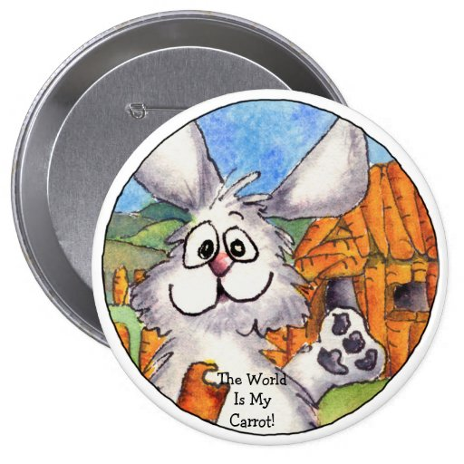World Is My Carrot Round Lapel Pin