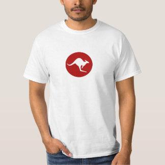 World Kangaroos White Kangaroo on Maroon T-Shirt