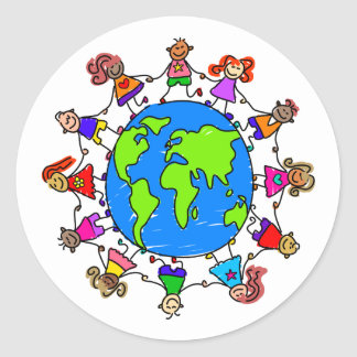 World Kids Classic Round Sticker