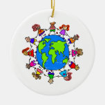 World Kids Double-Sided Ceramic Round Christmas Ornament