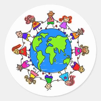 World Kids Round Stickers