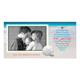 World Languages Merry Christmas Ocean Beach Card