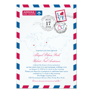 World Locations USA and Germany Airmail | Wedding Card