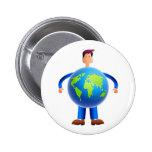 World Man Pinback Button