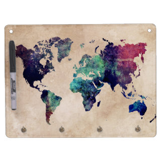 world map 10 dry erase board with keychain holder