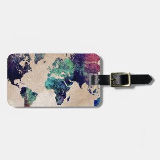 world map 10 luggage tag