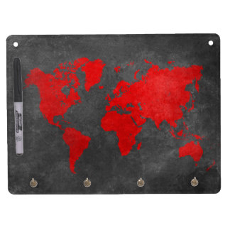 world map 11 dry erase board with keychain holder