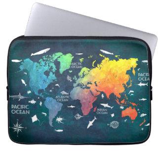 world map 12 computer sleeve